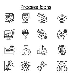 Process data analysis icon set in thin line style vector