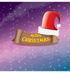red Santa hat greeting text Merry Christmas vector image vector image