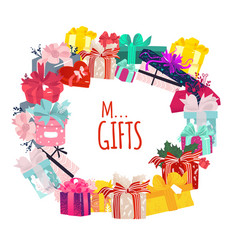 round frame of christmas birthday gifts presents vector image