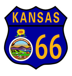 Route 66 kansas sign and flag vector