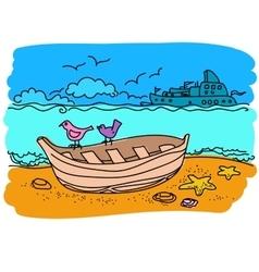 Sailing boat hand drawn vector image