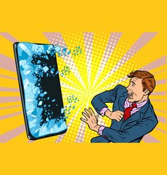 scared man businessman and smartphone internet vector image