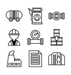 set icons oil line style icon vector image