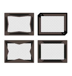 set of brown photo frames with transparent middle vector image
