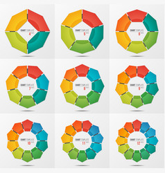 set of polygonal circle chart templates with 4-12 vector image
