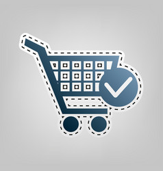 Shopping cart with check mark sign blue vector