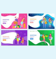 Shopping ladies family of shoppers posters set vector