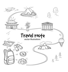 Sketch travel route concept vector