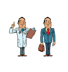 Smiling doctor and businessman vector