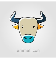 Spanish bull buffalo flat icon Animal head vector
