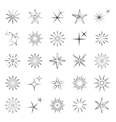 Sparkles starbursts and fireworks icons vector image