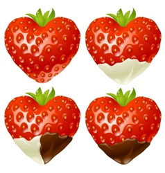 Strawberry in shape heart vector