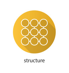 Structure symbol flat linear long shadow icon vector