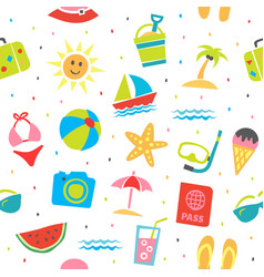 summer seamless pattern summer background vector image