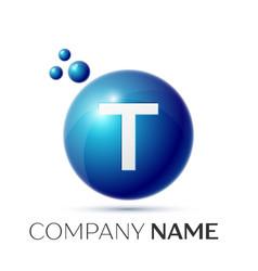 T letter splash logo blue dots and circle bubble vector