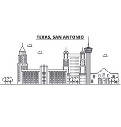 Texas san antonio architecture line skyline vector
