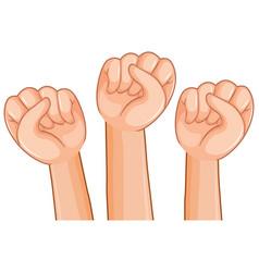 Three hand fist on white background vector