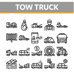 Tow truck transport collection icons set vector