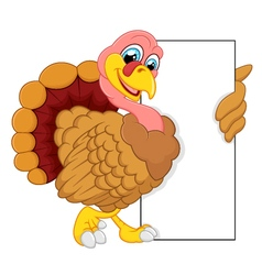 turkey cartoon with blank sign vector image