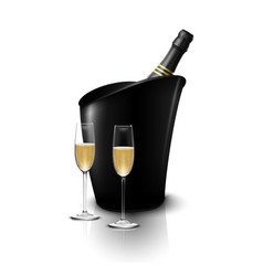 two wineglass with wine bottles of champagne vector image