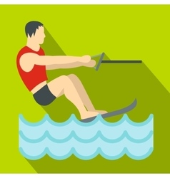 Water skiing icon flat style vector