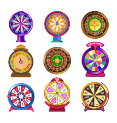 wheel of fortune casino roulette icons vector image