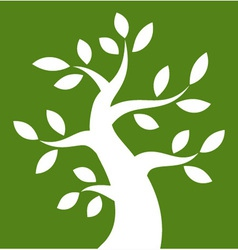 White Bold Tree icon on green rectangle vector image