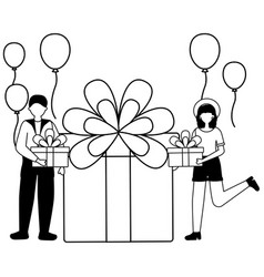 woman and man gift cake balloons birthday vector image