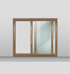 wooden sliding door vector image