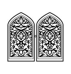 arabic window black silhouette vector image