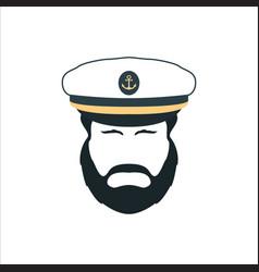 captain face silhouetteskipper in a hat emblem vector image