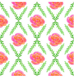 seamless wallpaper with rose and green bruhche vector image vector image