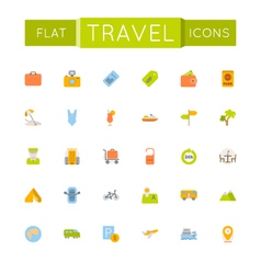Flat Travel Icons vector image vector image