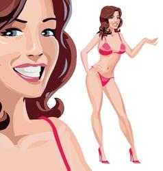 Girl in red bikini vector image