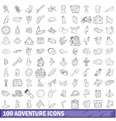 100 adventure icons set outline style vector image vector image