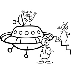 aliens with ufo for coloring book vector image