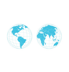 earth semisphere template isolated on white vector image vector image