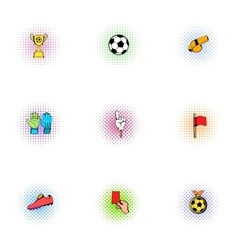 Football icons set pop-art style vector image vector image