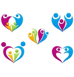Love of family icon collection set vector image vector image