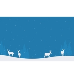 Many deer scenery Christmas winter silhouettes vector image vector image