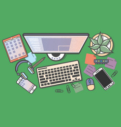 mobile programming top view banner vector image