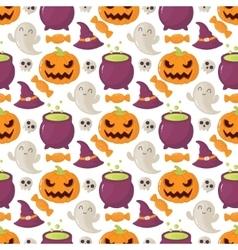 Seamless halloween pattern with skulls pumpkins vector image