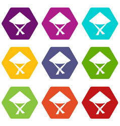 vietnamese hat icon set color hexahedron vector image vector image