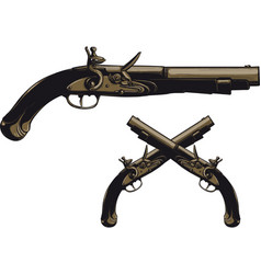 ancient flintlock pistol vector image vector image