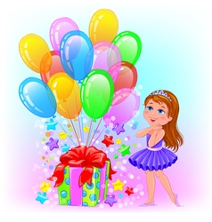 Birthday cheerful girl with gift and lot balls vector image
