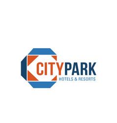 Blue and orange colors logo for resort real estate vector