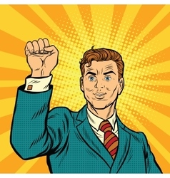 Businessman with fist pop art protest vector image