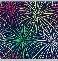 ink hand drawn seamless pattern with fireworks vector image vector image