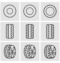 line tire icon set vector image vector image