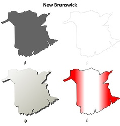 New Brunswick blank outline map set vector image vector image